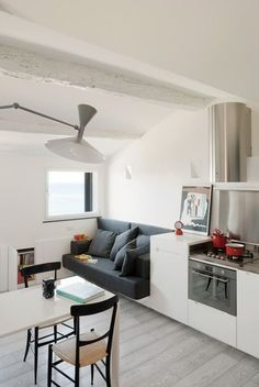 Home Design and Interior Design Gallery of Open Plan Space Of Harbour Attic Apartment Small Space Living, Tiny Living, Home And Living, Living Spaces, Living Rooms, Attic Apartment, Apartment Design, Apartment Living, Apartment Interior