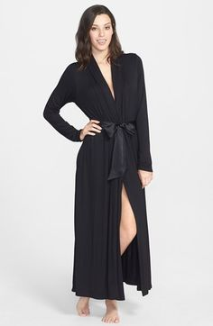 Free shipping and returns on Fleur't 'Take Me Away' Long Robe at Nordstrom.com. Luscious satin ties wrap the front of an exceptionally soft knit robe that falls to an ankle-length, A-line finish. The inset waist styling adds figure flattery to the design.