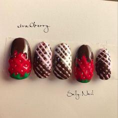 #バレンタインネイル #紗々ネイル #チョコレートネイル #いちごネイル #ネイルアート #ジェルネイル #セルフネイル #strawberrynails #nailart