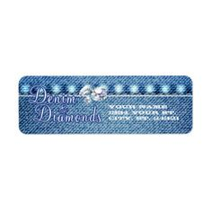 Diamonds and Denim Party Address Labels