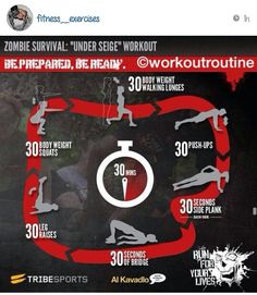 The final workout in our Zombie Survival Series was created for Tribesports by top calisthenics coach Al Kavadlo. The Under Siege Workout is a body weight only routine designed to give you a full body. Sport Fitness, Fitness Tips, Fitness Motivation, Fitness Workouts, Short Workouts, Quick Workouts, Fitness Fun, Exercise Motivation, Fitness Quotes