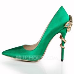 Satin Stiletto Heel Pumps Closed Toe shoes (085055826) - JJsHouse