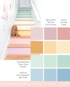 Reveal of my rainbow stairs! Ready to see my staircase makeover?! This is a DIY project with wood oak treads and painted raisers to look like a pastel rainbow. I wanted a modern and unique design. These stairs used to have carpet. After that it was a second layer of stairs. The decor is looking much better with a simple railing and then pastel rainbow risers Web Design, House Design, Staircase Makeover, Bring Them Home, Budget Home Decorating, Diy Home Decor, Rainbow Decorations, Diy Wood Projects, Diy House Projects