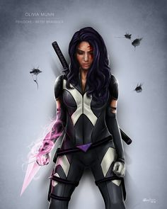 Psylocke by Ben Wilsonham.  I have to applaud this artist, he's managed to capture Psylocke's look and feel without making her into a lingere model.  This uniform is sensible for combat- for the most part- and still has just a hint of sexiness.  Such an improvement over the Jim Lee monstrosity of the 90's.