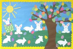 Easter is fast approaching and it's time to start planning how you're going to decorate your classroom! Here is a list of 10 good Easter bulletin board ideas to get the kiddos involved! Easter Art, Easter Crafts, Easter Bunny, April Easter, Easter Bulletin Boards, April Bulletin Board Ideas, Preschool Art, Preschool Displays, Preschool Bulletin