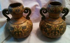Pair of Montopoli Arno Italia Signed & #391 Sgraffito Incised Hand Painted Urns