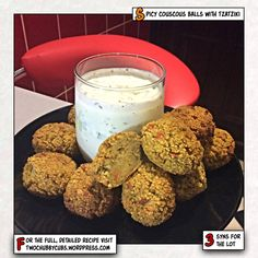 This is our go-to dish for taster night at Slimming World - low syn spicy couscous balls with tzatziki. Easy and fun to make. We also make a pork pie. Healthy Foods To Eat, Easy Healthy Recipes, Healthy Dinner Recipes, Diet Recipes, Easy Meals, Recipies, Slimming World Taster Ideas, Slimming World Recipes, Slimming Eats