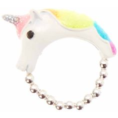 Neon Rainbow Unicorn Ring (19 BRL) ❤ liked on Polyvore featuring jewelry, rings, stretch rings, band jewelry, band rings, stretchy rings and beaded jewelry