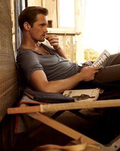 Alexander Skarsgard - grey relaxed tee, brown pants