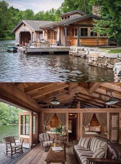 Haus am See *-* Lake Cabins, Cabins And Cottages, Small Cabins, River Cabins, Small Log Cabin, Mountain Cabins, Cozy Cabin, Log Cabin Homes, Log Cabin Living