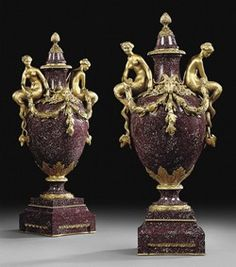 A PAIR OF  ORMOLU-MOUNTED  PORPHYRY VASES