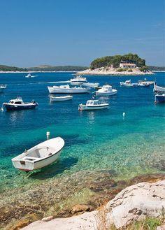 Clear Crystal Water of Pakleni islands Beach, Croatia