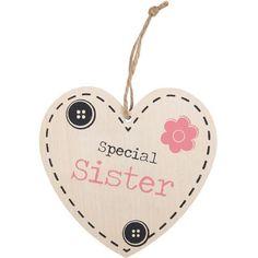 Happy Larry <p>An MDF heart plaque in a `Special Sister` design. Dimensions (H x W x D): 12 x 11.5 x 0.5cm.</p><strong>Features:</strong><ul><li>An MDF heart plaque in a 'special sister' design</li><li>Dimensions (H x W x D): 12 x 11</li><li>5 x 0</li><li>Color: Cream/Pink/Black</li><li>Primary Material: Manufactured wood<ul><li>Primary Material Details: MDF</li></ul></li><li>Wood Species: </li><li>Subject: Typography</li><li>Number of Items Included: 1</li><li>Handmade: No</li><li>Wall…