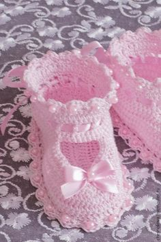 Для новорожденных, ручной работы. Ярмарка Мастеров - ручная работа. Купить Пинетки для новорожденного. Handmade. Розовый, пинетки для крещения: