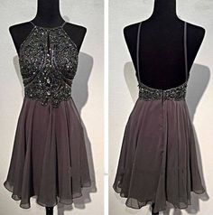 Backless Grey Homecoming Dress, Sexy Homecoming Dress, 2016 Homecoming Dress…