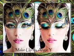 Peacock inspired fantasy make-up accented with rhinestones and feathers. Peacock Halloween, Peacock Costume, Halloween Contacts, Halloween Eye Makeup, Pfau Make-up, Peacock Makeup, Fantasy Make Up, Animal Makeup, Special Makeup