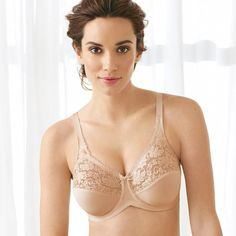 e1ac976a8a4a9e Lilyette® Tailored Minimizer® Bra with Lace Trim in Body Beige