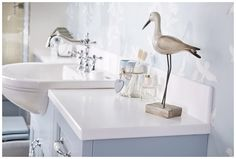 Solid surface worktop and upstand in glacial white #Roseberry #paintedtimber #bathroomfurniture #myutopia