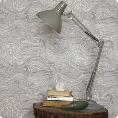 Gorgeous wallpaper - waves in black and white. And I like the little swan in the mix