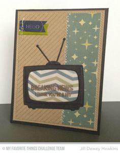 Stay Tuned, Television Die-namics, Diagonal Stripes Background - Jill Dewey Hawkins  #mftstamps