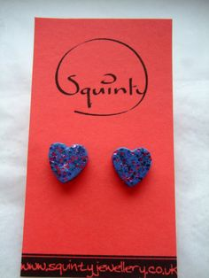 Wee Wooden Earrings - Stud - Post Earrings - Wooden Hearts - Purple by SquintyStuff, £4.00 #Etsy #Handmade #GlasgowEtsy