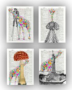 Harlequin art, Giraffe art, Set 4 fantasy giraffe prints, mushroom, statue Liberty, stilts, giraffe party, Giraffe nursery, Giraffe decor by PrintLand on Etsy