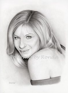 Barbra Streisand by rondawest {from USA} ~ pencil portrait