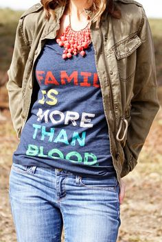 Family Is More Than Blood t-shirt by @sevenly Necklace by  Bits Proceeds from t-shirt help fund adoptions of children with Down syndrome.