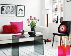 Architecture, Dazzling Apartment Interior Design with Feminine Theme: Chic Living Room With Pink And Red Cushion Theme