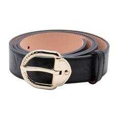 Louis Vuitton Black Embossed Leather Golden Prong Closure Belt LB4292-451,$96