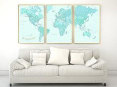 Custom quote - highly detailed world map poster split in 3 panels, map with cities, personalized map, husband gift, grayscale map 015 World Map Printable, Free Printable, Detailed World Map, Word Map, Coral Nursery, World Map Poster, Custom Map, Large Wall Art, Large Art