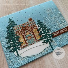 Christmas Cards 2018, Stampin Up Christmas, Holiday Cards, Stampin Up Paper Pumpkin, Pumpkin Cards, Christmas Gingerbread House, Fabric Cards, Winter Cards, Homemade Cards