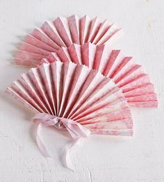 Paper Fan Project - all instructions included - uses scrapbook paper - from Better Homes & Gardens - to hand out to guests as favors when they arrive