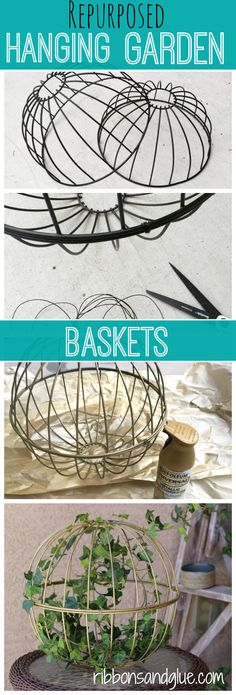 Repurposed Hanging Baskets in to Outdoor Decor. All you need is wire and spray paint to make this easy outdoor DIY project....