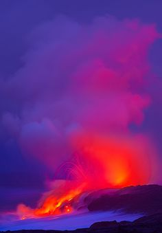 this one is from the Big Island of Hawaii. If you have never seen the volcano and lava on the island it is incredible. This was taken before sunrise happened. Hawaii Volcanoes National Park, Volcano National Park, Parc National, National Parks, Volcan Eruption, Beautiful World, Beautiful Places, Natural Phenomena, Big Island