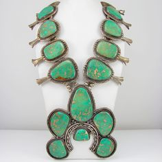 Massive Navajo Signed Sterling Silver Turquoise Squash Blossom Naja Necklace |G ☮╰დ╮╭დ╯☮ ❥ Peace & ❥ℒℴνℯ❥☮☮