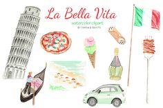 Watercolor Clip Art - Italy by Maria B. Paints >> #Watercolor #ClipArt - Italy, Italia, Leaning tower of Pisa, Flag, Fiat, Gondola, Venice, Gelato, Wine, Spaghetti, Cannoli, Fork, Beach, Europe #graphics #design