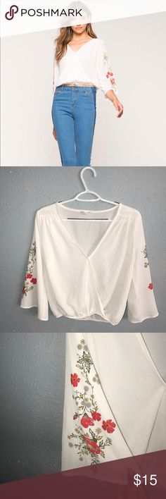 Agaci Embroided Sleeve Size M  Item Description: Agaci Embroidered Sleeve -Size: Medium -Material: -Measurements: Length: 21.5in | Sleeve: 17in | Bust: 19in -Item has been worn twice, is in good condition tag is somewhat damaged. ✨ Reasonable Offers Are Welcomed! ✨ agaci Tops Tees - Short Sleeve