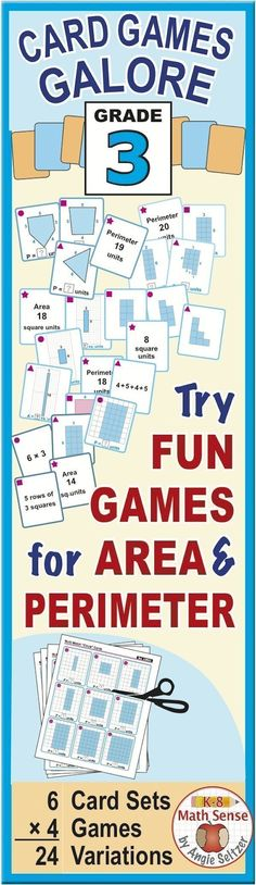 This versatile bundle contains six third grade area and perimeter card sets. Students will enjoy learning as they match models, expressions, and numbers during fun, familiar games. These are great for all ability levels. ~by Angie Seltzer