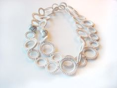 White Necklace Cotton Crochet with Beads