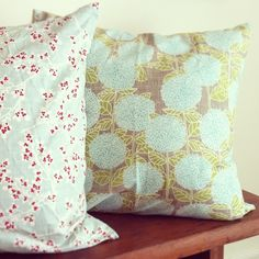 Pillows made from Kate & Birdie's Winter's Lane and Bluebird Park lines for Moda Fabrics.