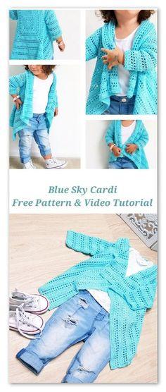 Free Pattern, video tutorial, stitch chart and diagram ClothingSource : Blue Sky Cardi. Free Pattern, video tutorial, stitch chart and diagram by verarozmarynows Crochet Baby Cardigan, Crochet Baby Clothes, Knit Crochet, Crochet Stitches, Crochet Bikini, Crochet Girls, Crochet For Kids, Baby Knitting Patterns, Crochet Patterns