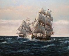 Combate de El Glorioso (Galeón de Indias, Armada Española) con el HMS Oxford a pocas millas de Finisterre. 14 de agosto de 1747 . Obra de Augusto Ferrer-Dalmau
