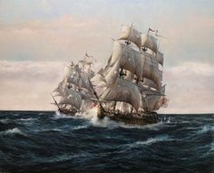 Combate de El Glorioso  con el HMS Oxford a pocas millas de Finisterre. 14 de agosto de 1747 . Obra de Augusto Ferrer-Dalmau