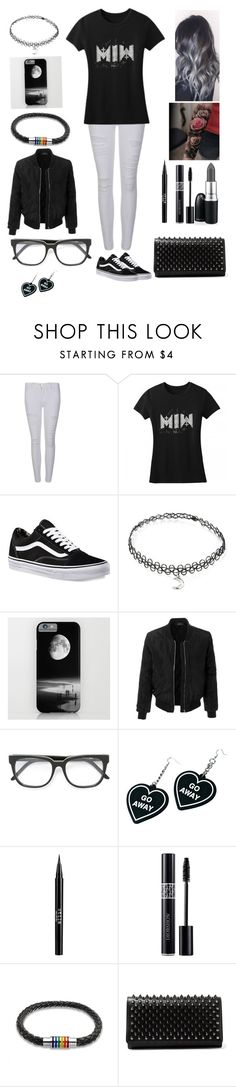 """""""Motionless In White"""" by jaymilyn ❤ liked on Polyvore featuring Frame, Vans, Forever 21, LE3NO, RetroSuperFuture, Witch Worldwide, Stila, Christian Dior, Bling Jewelry and Christian Louboutin"""
