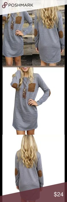 """Women's long sleeve loose blouse mini dress med This is a very stylish women's long sleeve loose gray brown elbow patch blouse or could also be wore as a mini dress. This items is brand new in package a would make an excellent gift.  Size medium measurements are as follows all measurements are approx. bust 34"""", waist 31"""", shoulder 14.5 """", sleeve 21"""", length 32"""".  Buy with confidence I am a top rated seller, fast shipper, and mentor.  Remember to bundle and save.  Thank you. Dresses Mini"""