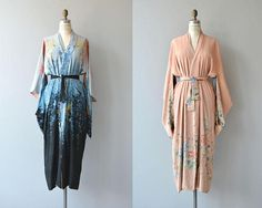 Antique 1920s reversible silk kimono wrapper/robe with dusky blue floral side and pale pink side. ✂-----Measurements fits like: fits most bust: free waist: free length: 48 brand/maker: n/a condition: small and faint discoloration at the back of one shoulder & hip of the pink side ✩ layaway is available for this item to ensure a good fit, please read the sizing guide: http://www.etsy.com/shop/DearGolden/policy ✩ visit the shop ✩ http://...
