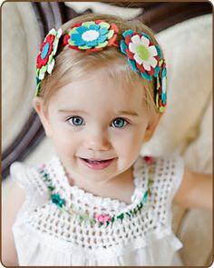 Red Felt Flower Headband - Red, Turquoise, Apple Green - Baby Headband - Toddler Felt Headband. $9.50, via Etsy.