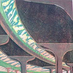 Elevated Expressway by Ralph Kiggell Picture Boards, Woodblock Print, Printmaking, Japanese, Fine Art, Artwork, Pictures, 3d, Street