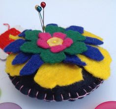 This item is unavailable True Colors, Colours, Felt Pincushions, Blue Green, Yellow, Blanket Stitch, Black Felt, Sewing Accessories, Tim Holtz